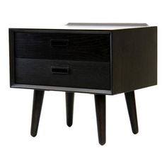 This classic Scandinavian design has round legs and double drawers for use as a bedside table or side table with storage. Natural Charcoal, Side Table With Storage, Night Table, Coastal Living, Scandinavian Design, Bedside, Bedrooms, Classic, Furniture