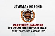 Jawatan Kosong di Majlis Sukan Negara Malaysia - 31 Januari 2018  Jawatan kosong kerajaan terkini di Majlis Sukan Negara Malaysia Januari 2018 | Jawatan kosong terkini di Majlis Sukan Negara Malaysia Januari 2018. Permohonan adalah dipelawa daripada warganegara Malaysia yang berkelayakan untuk mengisi kekosongan jawatan kosong terkini di Majlis Sukan Negara Malaysia sebagai : 1. PEMBANTU KEMAHIRAN GRED H19 (ELEKTRIK) Tarikh tutup permohonan 31 Januari 2018 Lokasi : Kuala Lumpur Sektor…