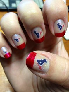 Houston Texans nail art. Red tips with texans logo.