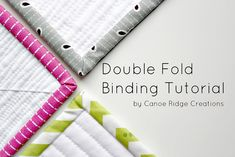 Really nice tutorial on double fold binding. Very photo intensive, which is what I love about it! Double Fold Binding Tutorial :: Part One Quilting Tips, Quilting Tutorials, Quilting Projects, Sewing Tutorials, Sewing Hacks, Sewing Projects, Sewing Tips, Tutorial Sewing, Machine Quilting