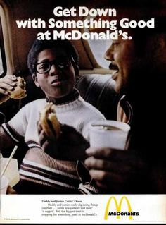 Note the size of the burgers and the size of the cup. 1973 ad for McDonald's.