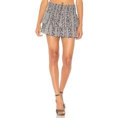Alice + Olivia Anya Skirt ($225) ❤ liked on Polyvore featuring skirts, tiered skirt, elastic waist skirt, rayon skirt, white knee length skirt and elastic waistband skirt