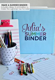 Printable Summer Binder- create a binder full of fun for your kids this summer! Printables for each section included. Plus activity sheets. Summer Activities, Craft Activities, Outdoor Activities, Projects For Kids, Crafts For Kids, Fun Crafts, Summer Fun For Kids, Kids Fun, Activity Sheets