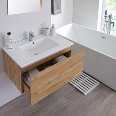 Milano Oxley - Golden Oak Wall Hung Vanity Unit with Basin Oak Vanity Unit, Corner Vanity Unit, Bathroom Sink Units, Bathroom Shop, Big Bathrooms, Bathroom Ideas, Bathroom Pink, Grey Bathroom Furniture, Ideas