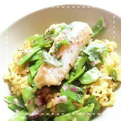 Hapa-tite   Pan-Seared Cod with Curried Basmati Rice, Snow Peas