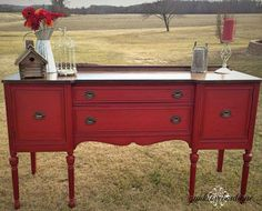 Antique buffet//sideboard painted Posh Red with a Walnut stained top. The color is intensified with Annie Sloan waxes. Refurbished Furniture, Repurposed Furniture, Furniture Makeover, Vintage Furniture, Chalk Paint Furniture, Furniture Projects, Diy Furniture, Painted Sideboard, Painted Buffet