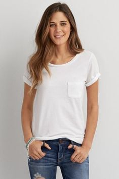 AEO Soft & Sexy Pocket Jegging T-Shirt, Sky Blue | American Eagle Outfitters