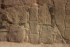 Close-up of engraved perimeter wall at Cerro Sechin.