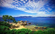 rain beach landscape nature beach coast sea rock mediterranean