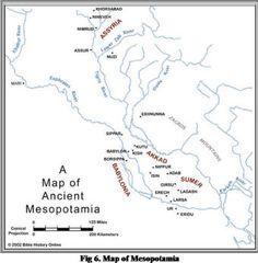 Map of Mesopotamia: In Greek, Mesopotamia means 'land