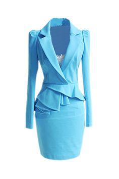 Muahah cheeky Lapel Falbala Sky Blue Dress