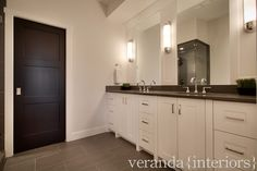 Interior design and decorating ideas of living rooms, dens/libraries/offices, laundry/mudrooms, bathrooms, kitchens by Veranda Interiors - Page 3 Grey Bathroom Floor, Best Bathroom Flooring, Grey Floor Tiles, Grey Flooring, Grey Bathrooms, Bathroom Wall Decor, Gray Floor, Bathroom Ideas, Floors