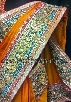 Gota work on a Silk saree