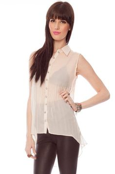Look Sharp Pleated Hi-Low Shirt in Cream $24 at www.tobi.com
