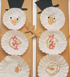 Simple DIY Christmas Craft Ideas for Kids - Coffee Filter Snowmen - Click PIN for 25 Holiday Decoration Ideas