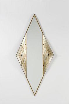 lorenzo burchiellaro // copper and brass 'losanga' wall mirror // 1988 / rare to see contemporary design like this/ reminiscent ART deco