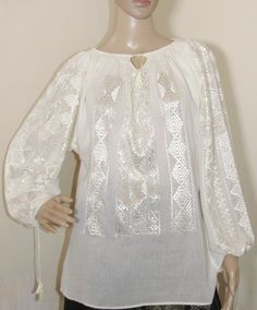 Indiana Jones blouse, Marion Ravenwood blouse top m Raiders costume size S - M - GreatBlouses.com Marion Ravenwood, Indiana Jones, Peasant Blouse, Raiders, Bell Sleeve Top, Ivory, Costumes, Lace, Handmade