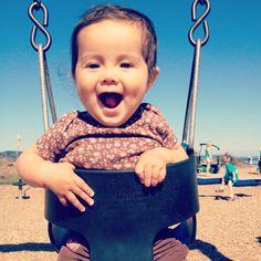 Baby girl on a swing -whee!
