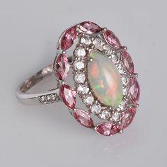 Ethiopian Opal Ring  Pink Tourmaline Ring  White by ArihantJewelry, $96.00