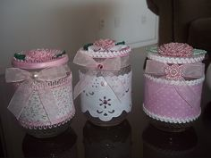 Mason Jar Crafts, Mason Jar Diy, Bottle Crafts, Handmade Crafts, Diy And Crafts, Shabby, Tin Can Crafts, Jar Art, Baby Food Jars