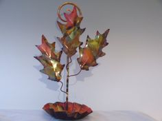 COPPER  OAK lEAF Birdfeeder This handcrafted by DONPOFFSCULPTURES, $32.95