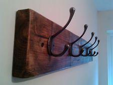 Antique Wooden Coat Rack Rustic 80cm Style Reclaimed Handmade Cast Iron Hooks