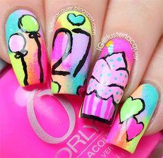 Birthday themed nail arts birthday nails birthdays and ring finger 27 stylish happy birthday nail art ideas prinsesfo Image collections