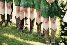 Casual Green Bridesmaid Dresses with Cowboy Boots