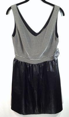 afb58a6d7778 Be Bop Large Black White Stripe Dress Faux Leather Black Skirt Sleeveless  BeBop  BeBop