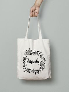 Personalized Bag Canvas Tote Bag Bridesmaid Tote by Mybebecadum