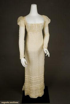 Augusta Auctions, November, 2007 -Tasha Tudor Historic Costume Collection, Lot 302: Embroidered White Checked Dress, C. 1810