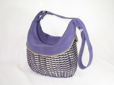 Soft Purple Micro Suede Pull Tab Shoulder Purse with Khaki Trim and Top Stitching. $199.00, via Etsy.