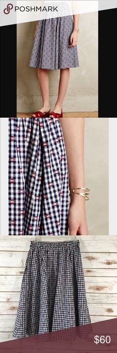 "Anthropologie Maeve Gingham Market Skirt NWOT This is a NWOT Maeve skirt by Anthropologie in a size XS. This skirt is in a blue gingham skirt with red accents throughout. The skirt has an elastic waist that measures 13"", but adjusts up to 18"". Thanks! Anthropologie Skirts"