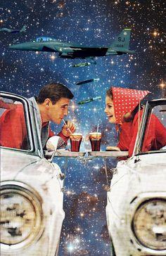 'Enjoy', digital collage art by Annette von Stahl, vintage art Surreal Collage, Surreal Art, Collages, Collage Art, Retro Art, Vintage Art, Arte Complexa, Logos Retro, Photos Originales
