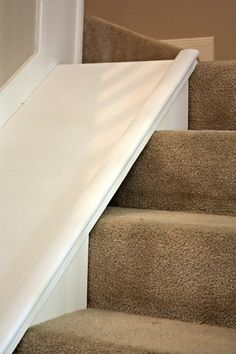 Add a kids slide to your existing stairs by Decor Allure featured on /Remodelaholic/ Amazing! Add a kids slide to your existing stairs by Decor Allure featured on /Remodelaholic/ Stair Slide, Stairs With Slide, Dog Ramp For Stairs, Indoor Slides, Indoor Slide Stairs, Diy Slides, Kids Basement, Basement Ideas, Kids Slide