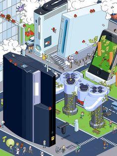 City of games and pixel art - GAMEZ! Retro Video Games, Video Game Art, Video Games Xbox, Mundo Dos Games, Gaming Wallpapers, Geek Art, Gaming Memes, Super Mario Bros, Super Nintendo