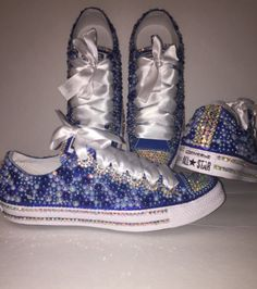 5a673c95b310 WOMEN S Berry Royal Blue Bedazzle Bling Converse All Star Chuck Taylor  Sneakers Active Bedazzled Converse Diy
