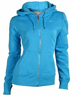Nike Women's Classic Swoosh Full Zip Hoodie-Light Blue-Medium