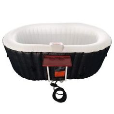 ALEKO Oval Inflatable Hot Tub Spa with Drink Tray and Cover, 2 Person Portable Hot Tub - 145 Gallon Black and White Inflatable Hot Tub Reviews, Round Hot Tub, Drinks Tray, Deep Relaxation, Whirlpool Bathtub, Sit Back And Relax, Cool Things To Buy, Black And White, Hot Tubs