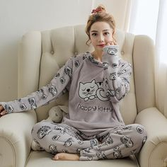 311a25a6cb flannel winter women warm printing cartoon cat pajamas with long sleeve  long pant plus thick O neck home wear suit Pajama Sets