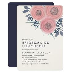 Peach Poppies Bridesmaids Luncheon Invitation Pinterest