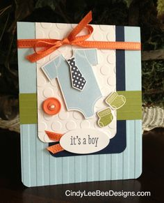 "Sweet ""It's A Boy"" Something For Baby Card...Cindy Brumbaugh, SU - CindyLeeBeeDesigns."