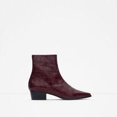 MOCK CROC PRINT LEATHER BOOTIES-Shoes-TRF | ZARA United Kingdom