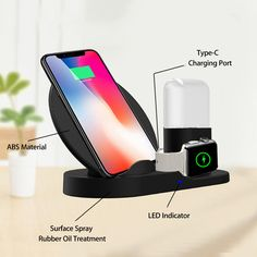 SingDeRing Compatible 3 in 1 Wireless Charger Stand QI Wireless Charging Dock Station Replacement for Apple Watch Series iPhone Xs/XS Plus, AirPods (Black) Apple Watch Iphone, Apple Watch 38mm, Apple Watch Series 3, Phone Apple, Smartwatch, Mobiles, Cardio, Online Shopping, Airpods Apple