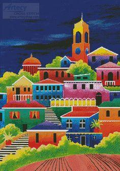 Artecy Cross Stitch. Mediterranean 8 Cross Stitch Pattern to print online.