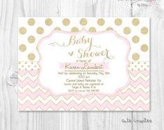 Baby shower girl coral and gold glitter polka dot por ceremoniaGlam