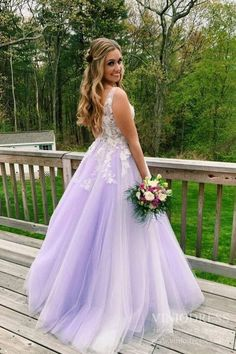 A Line Lilac Appliques V Neck Long Prom Dresses, Long Prom Formal Gowns - 2020 New Prom Dresses Fashion - Fashion Of The Year Lilac Prom Dresses, Junior Prom Dresses, Lace Dresses, Homecoming Dresses, Bridesmaid Dresses, Wedding Dresses, Semi Dresses, Prom Dresses For Teens, Pageant Dresses