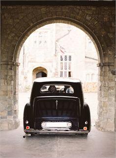 vintage wedding getaway car #weddingideas #getawaycar #weddingchicks http://www.weddingchicks.com/2014/02/07/british-beauty-wedding/