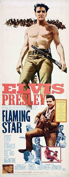 "Flaming Star is a 1960 Western film starring Elvis Presley, based on the book Flaming Lance (1958) by Clair Huffaker. Critics agreed that Presley gave one of his best acting performances as the mixed-blood ""Pacer Burton"", a dramatic role. The film was directed by Don Siegel, and had a working title of Black Star. The movie reached No. 12 on the box office charts."