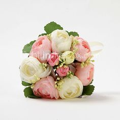 かわいらしい丸型サテンリボンの結婚式のブライダルブーケバラ - USD $19.99